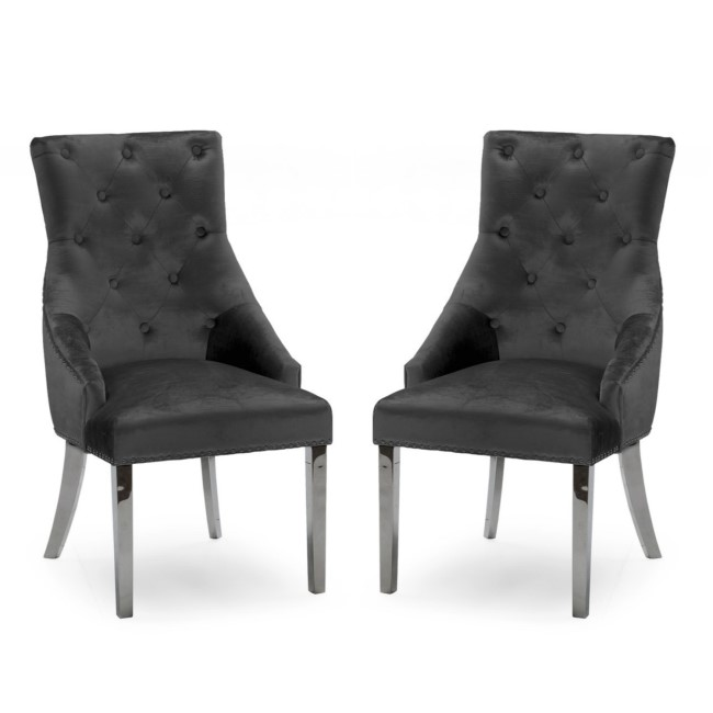 Pair of Dark Grey Velvet Dining Chairs with Knockerback - Vida Living Belvedere
