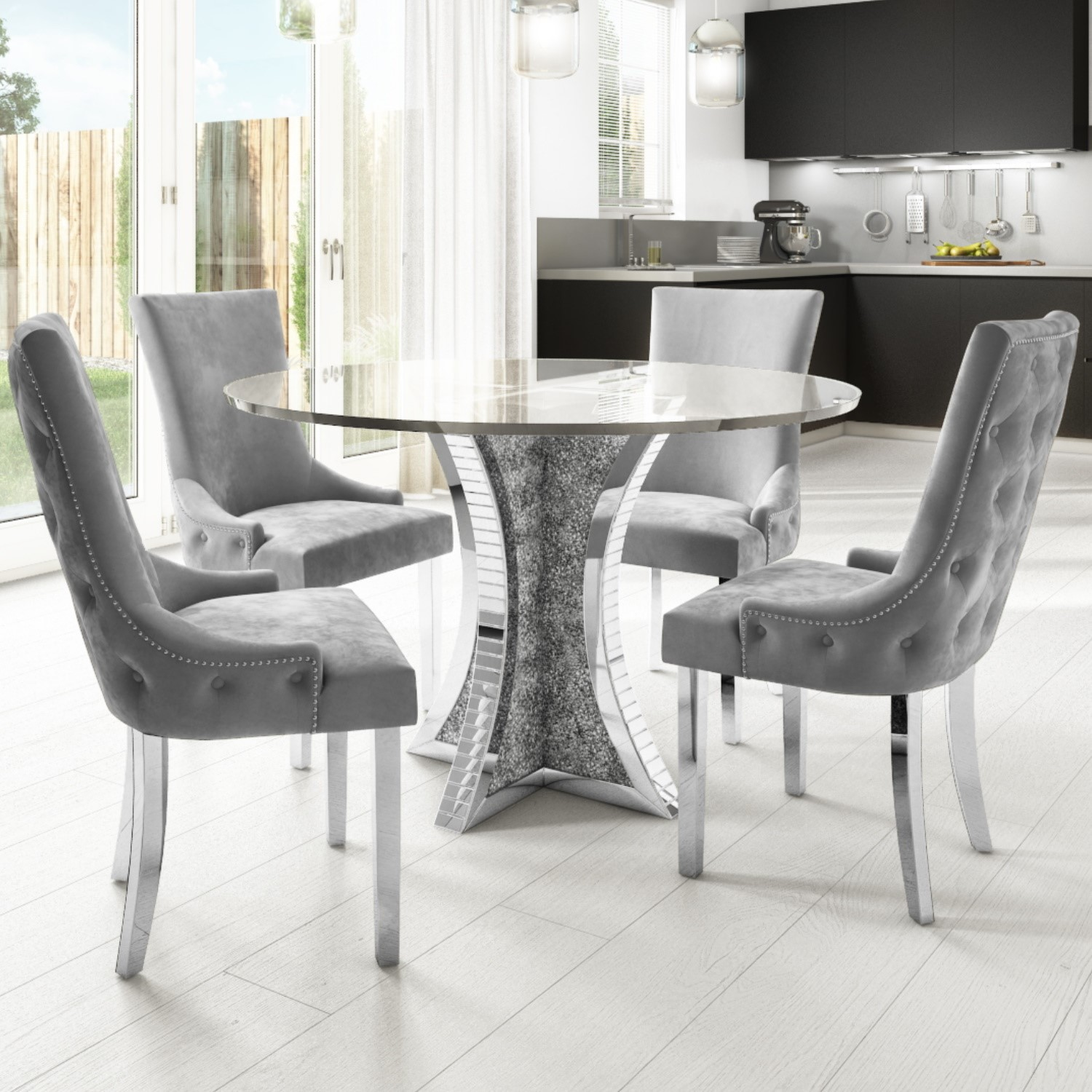 Round Mirrored Glass Top Dining Table with 4 Dining Chairs i