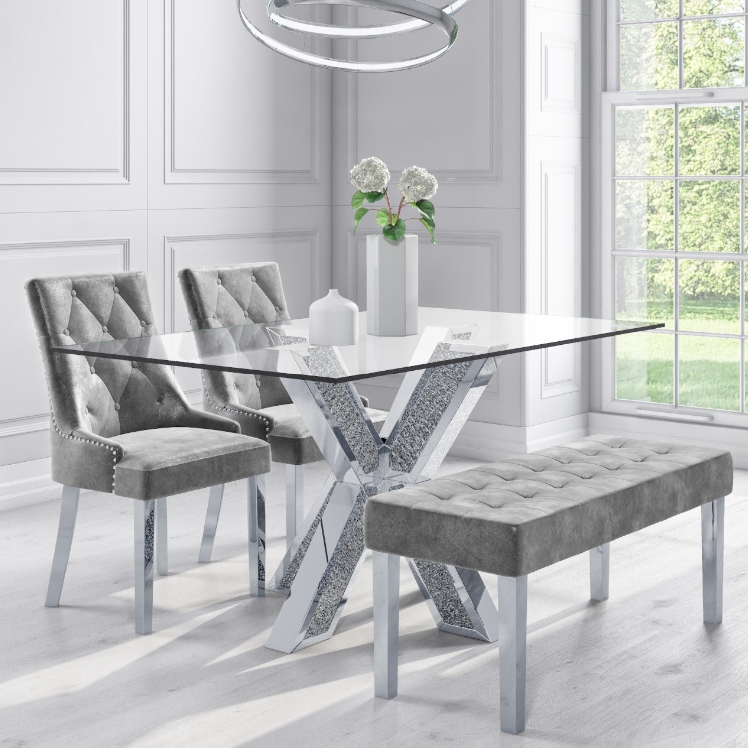 Glass Mirrored Dining Set With 2 Grey Velvet Chairs 1 Grey Velvet Bench Jade Boutique Furniture123
