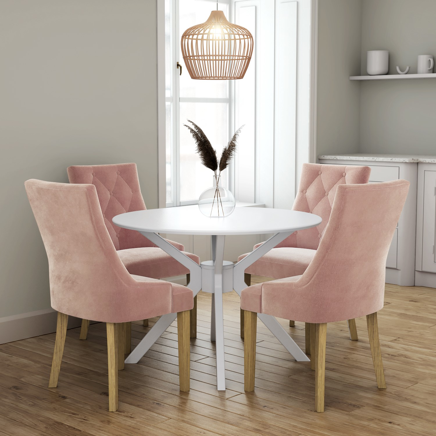 White Round Dining Table with 9 Pink Velvet Dining Chairs
