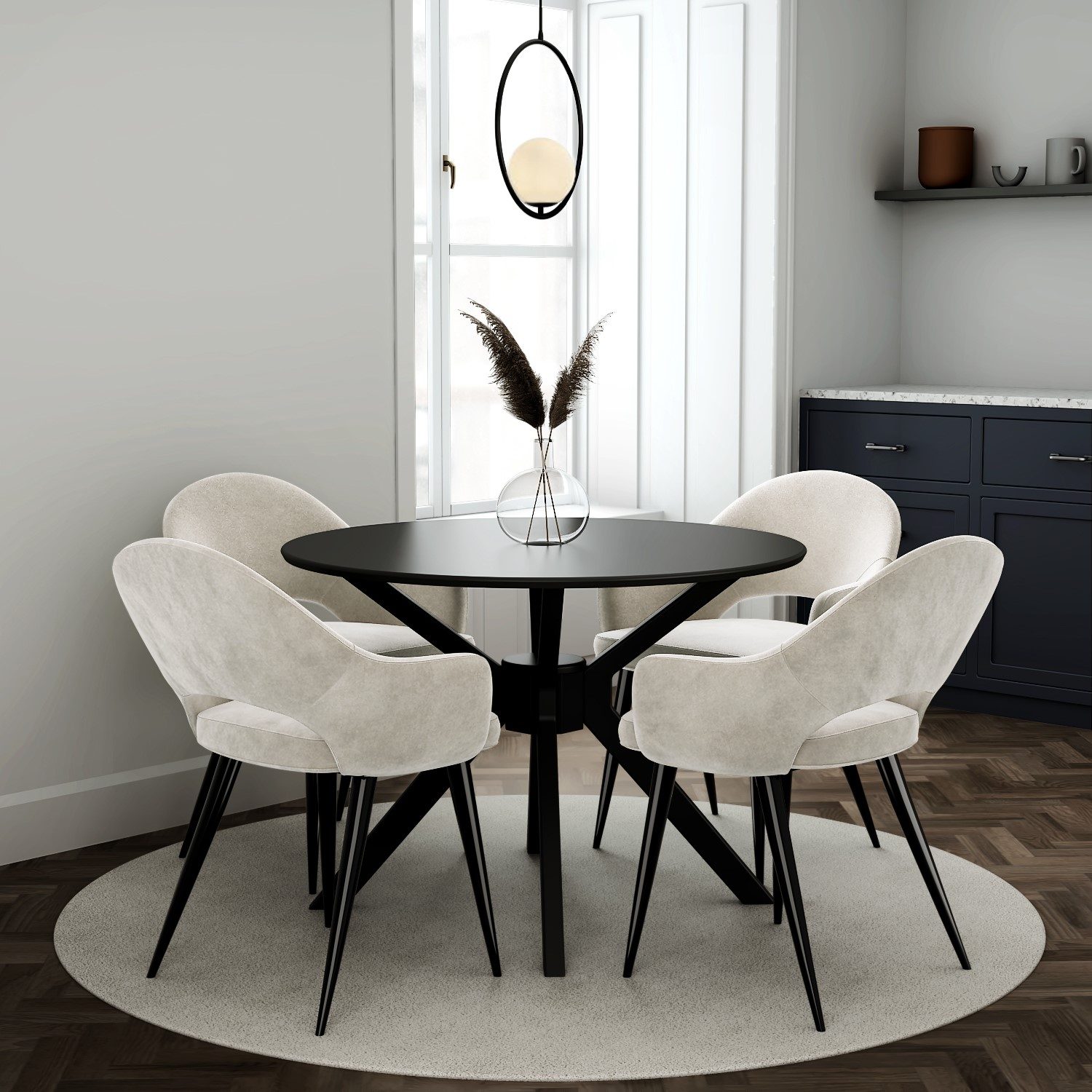 4 Seater Round Black Dining Set With 4 Beige Fabric Dining Chairs Furniture123