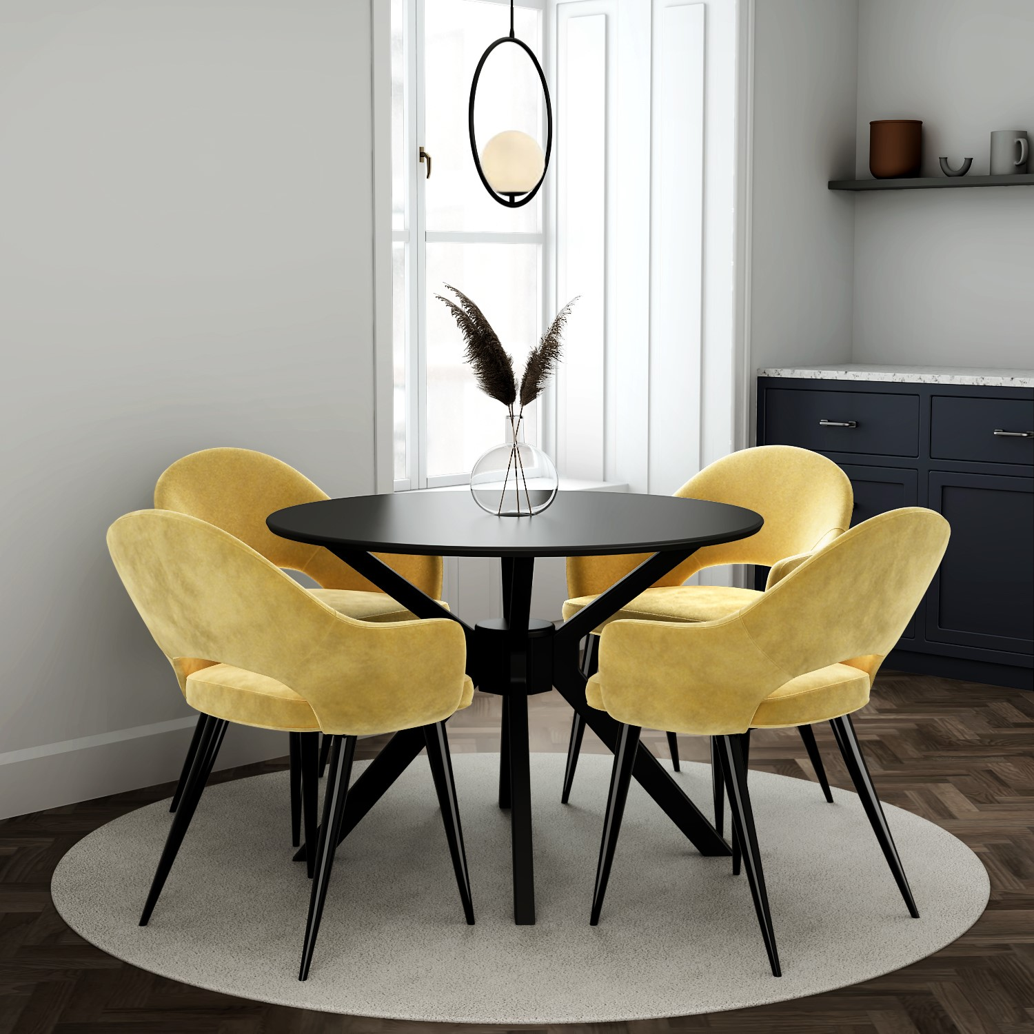 Black Round Dining Table With 4 Mustard, Round Kitchen Tables And Chairs Uk