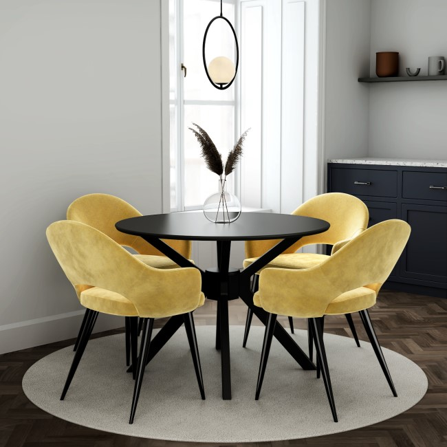 Black Round Dining Table with 4 Mustard Yellow Fabric Dining Chairs