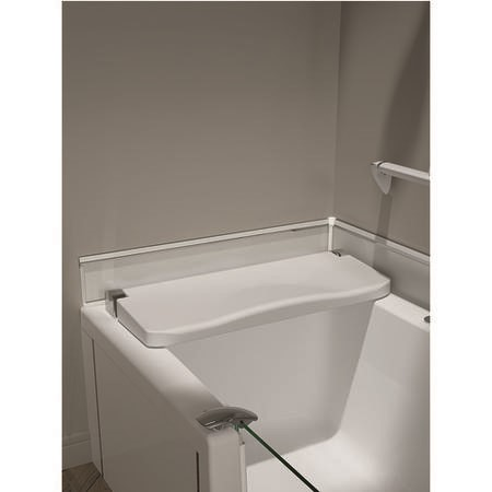Kineduo Right Handed Walk-In Shower Bath with Screen and White Panel 1700 x 750mm - Recess Installation