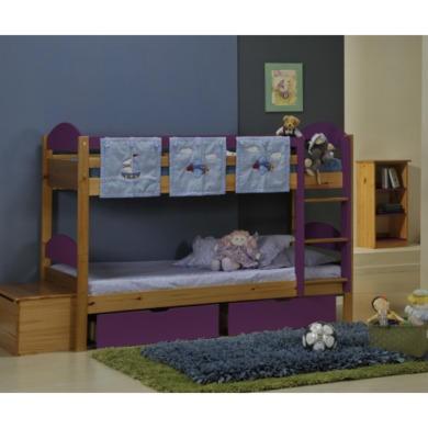 Verona Design Maximus Solid Pine Single Bunk Bed in Purple  90x190cm