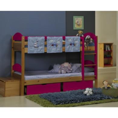 Verona Design Maximus Solid Pine Single Bunk Bed in Pink  90x190cm