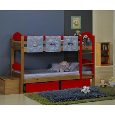 Verona Design Maximus Solid Pine Single Bunk Bed in Red  90x190cm