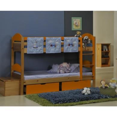 Verona Design Maximus Solid Pine Single Bunk Bed in Orange  90x190cm