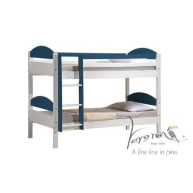 Verona Design Maximus White Single Bunk Bed in Blue  90x190cm