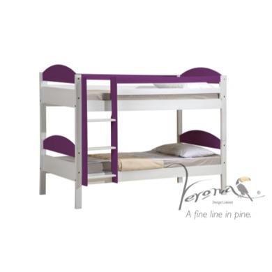 Verona Design Maximus White Single Bunk Bed in Purple  90x190cm