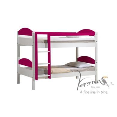 Verona Design Maximus White Single Bunk Bed in Pink  90x190cm