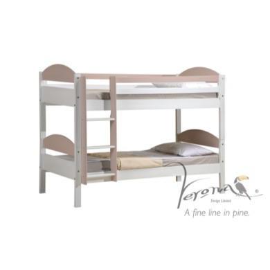 Verona Design Maximus White Single Bunk Bed in Light Pink  90x190cm