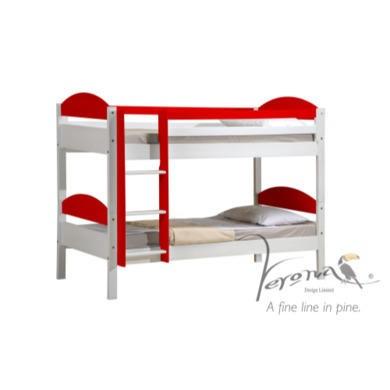 Verona Design Maximus White Single Bed in Red  90x190cm