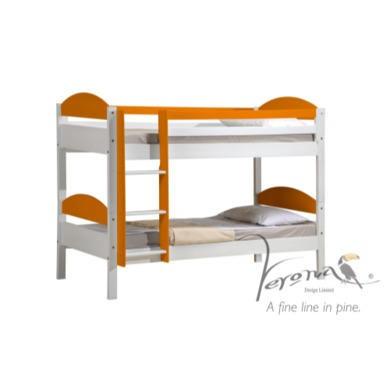 Verona Design Maximus White Single Bunk Bed in Orange  90x190cm