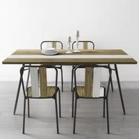Kuta Industrial Dining Set with Table & 4 Matching Dining Chairs - Reclaimed Wood