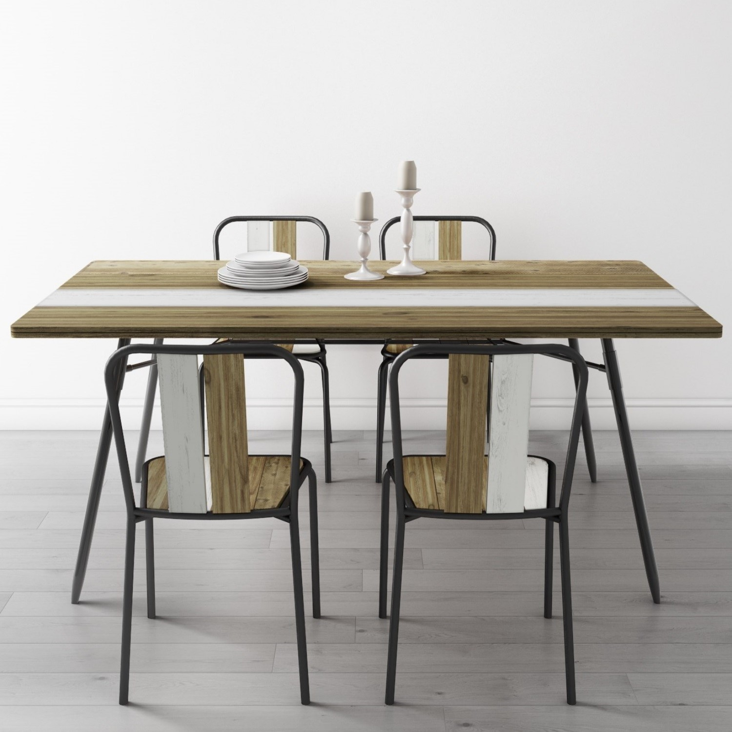 Kuta Industrial Style Reclaimed Wood Dining Table With Metal Legs
