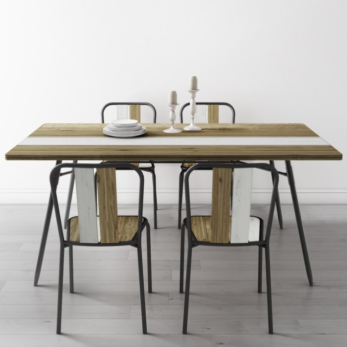 7d3911af6 Kuta Industrial Dining Set with Table   4 Dining Chairs - Reclaimed Wood  BUN KUT007 70541