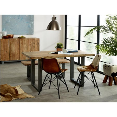 Indian Hub Live Edge Medium Dining Table with Dining Bench & 2 Dining Chairs