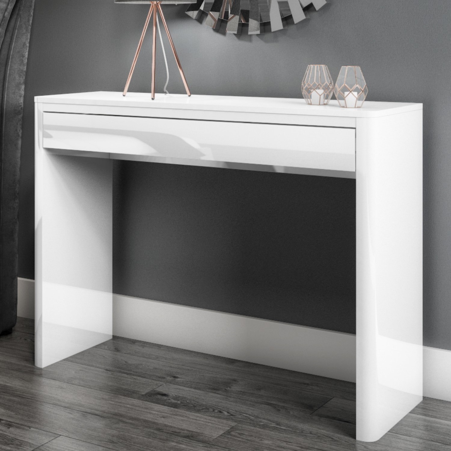 Lexi Slim White High Gloss Console Table With Drawers