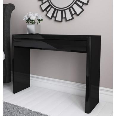 Black console table Half Moon Lexi Black High Gloss Console Table Furniture 123 Hall And Console Tables Furniture123