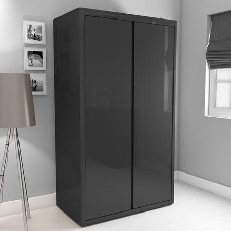 Lexi High Gloss Anthracite Double Wardrobe