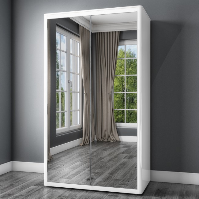 Lexi White High Gloss Double Wardrobe With Mirrored Doors