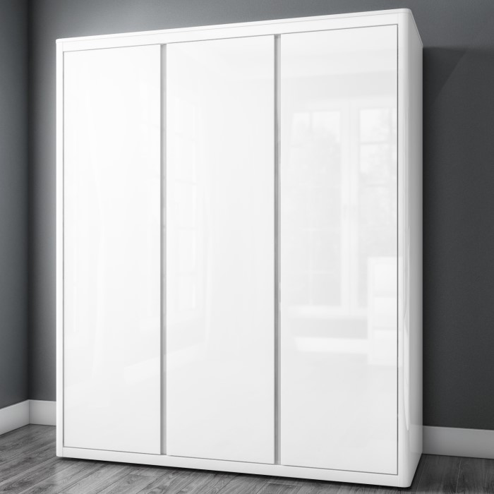 lexi white high gloss triple wardrobe with 3 gloss doors - White Wardrobe