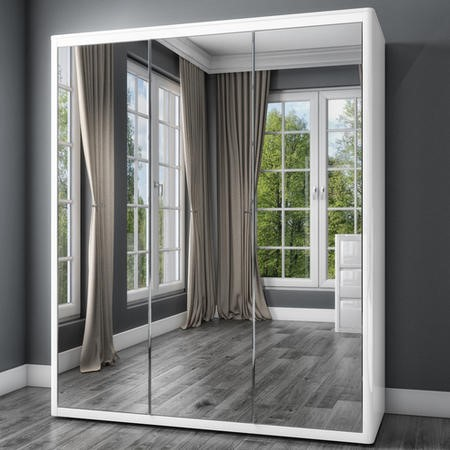 Lexi White High Gloss Triple Wardrobe With 3 Mirrored Doors