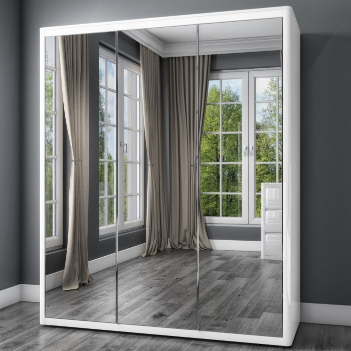 Lexi White High Gloss Triple Wardrobe With 3 Mirrored Doors