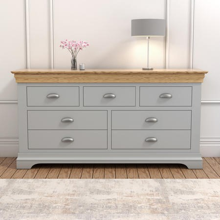Loire Large Grey Painted Sideboard Two Tone with Oak Top - 7 Storage Drawers