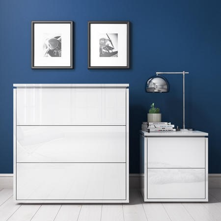 Lucia LED White High Gloss Bedside Table and Chest of Drawers