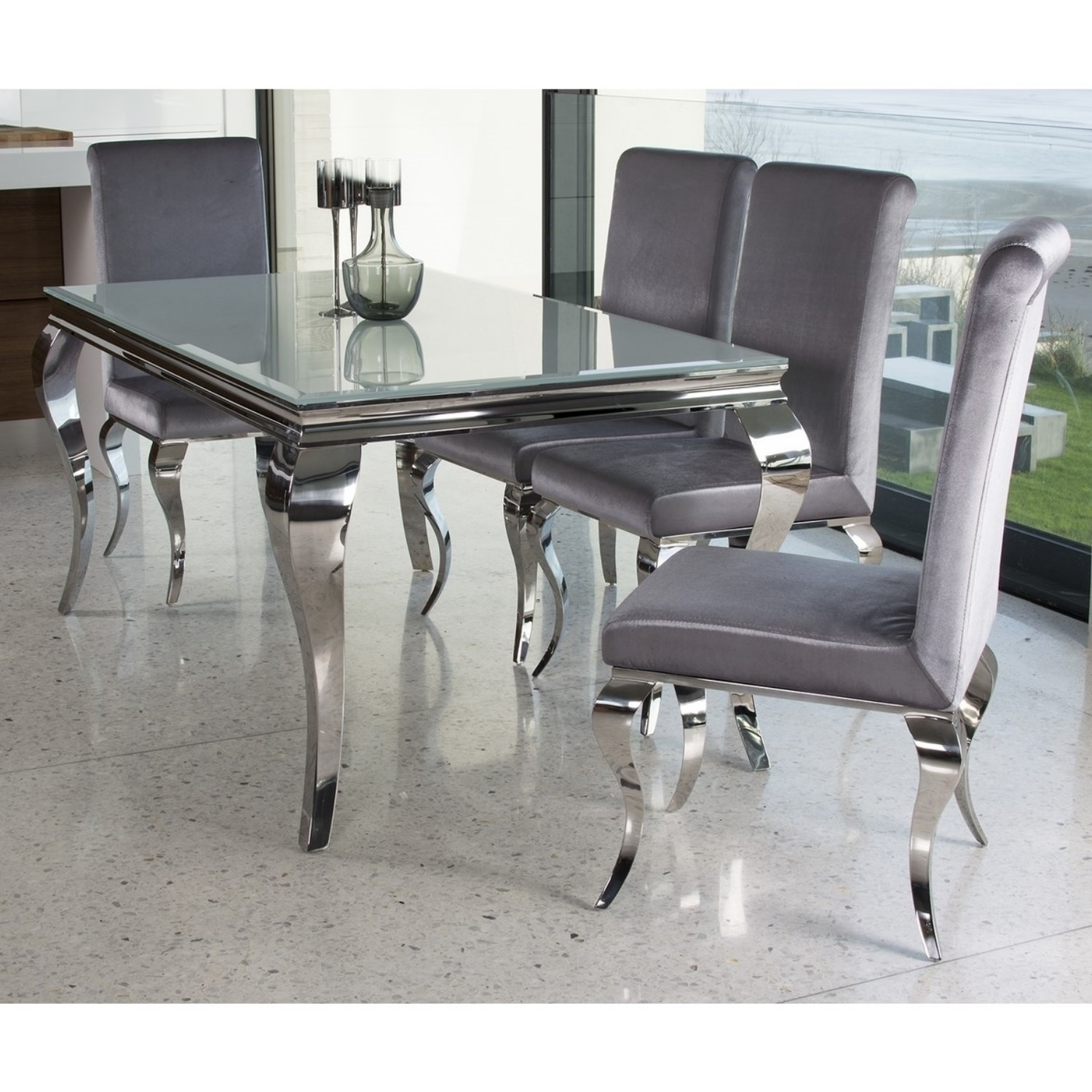 Louis Mirrored Dining Set with White 160cm Table u0026&; 4 Silver Velvet Chairs - Vida & Louis Mirrored Dining Set with White 160cm Table u0026 4 Silver Velvet ...