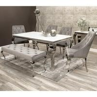 Mirrored Dining Table with 4 Grey Chairs and Bench