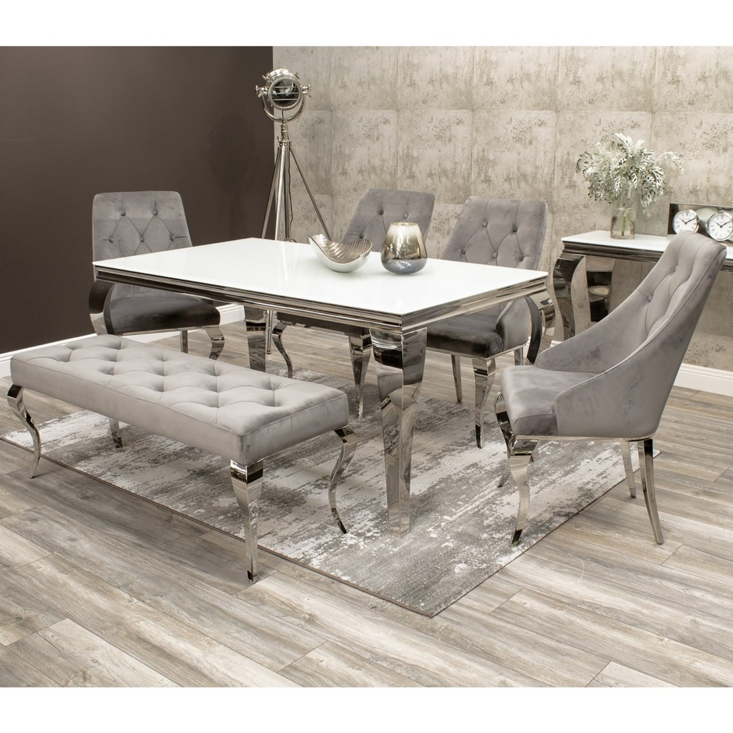 Louis White Dining Table 160cm With 4 Grey Velvet Chairs 1 Bench Mirrored Legs