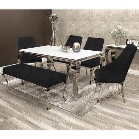 Louis White & Mirrored Dining Table 160cm with 4 Black Velvet Chairs & Bench
