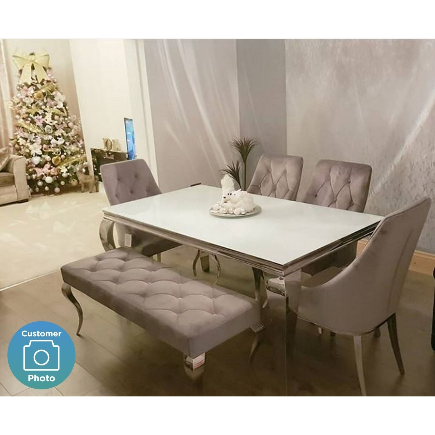Tremendous Louis Mirrored 200Cm Dining Table With 4 Chairs And Bench In Grey Velvet Spiritservingveterans Wood Chair Design Ideas Spiritservingveteransorg