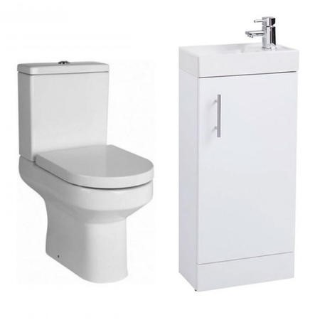 White Gloss Vanity Unit Cloakroom Suite