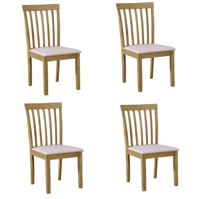 4 New Haven Wooden Dining Chairs with Cream Fabric Seats