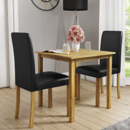 New Haven Small Dining Set with 2 Chairs in Black Faux Leather