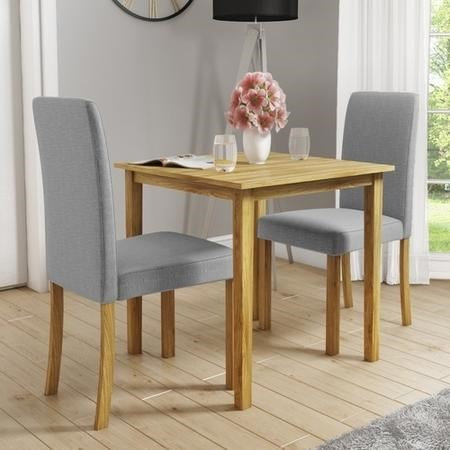 Small Oak Dining Table & 2 Grey Dining Chairs - New Haven