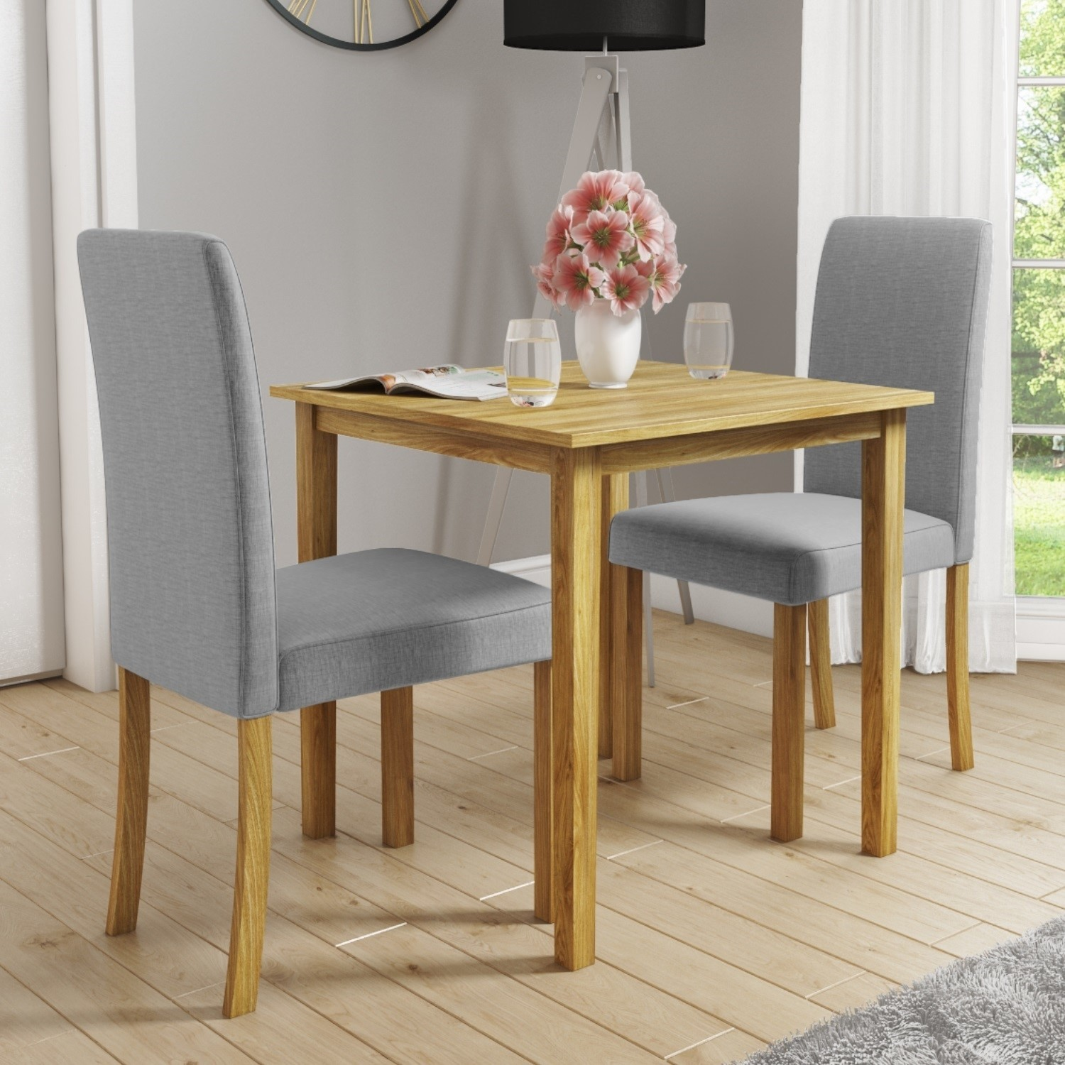 New Haven Small Dining Set With 2 Grey Upholstered Chairs Furniture123