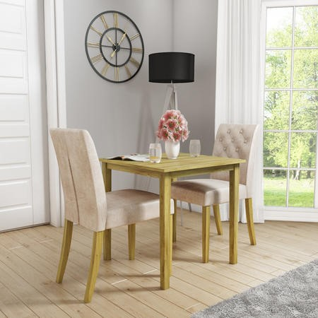 New Haven Solid Oak Dining Table with 2 Natural Velvet Dining Chairs