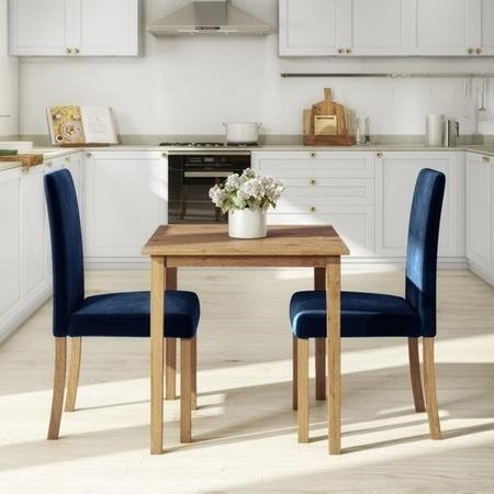 Small Oak Dining Table & 2 Blue Velvet Chairs - New Haven