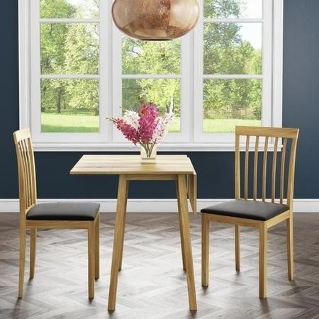 New Haven Drop Leaf Dining Set and 2 Chairs in Black Fabric