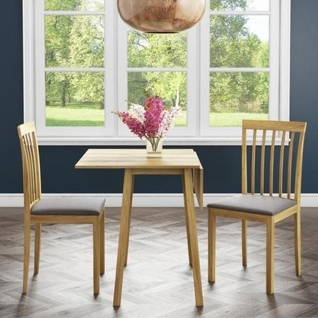 New Haven Drop Leaf Dining Set and 2 Chairs in Brown Fabric