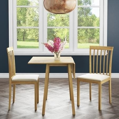 New Haven Drop Leaf Dining Set and 2 Chairs in Cream Fabric