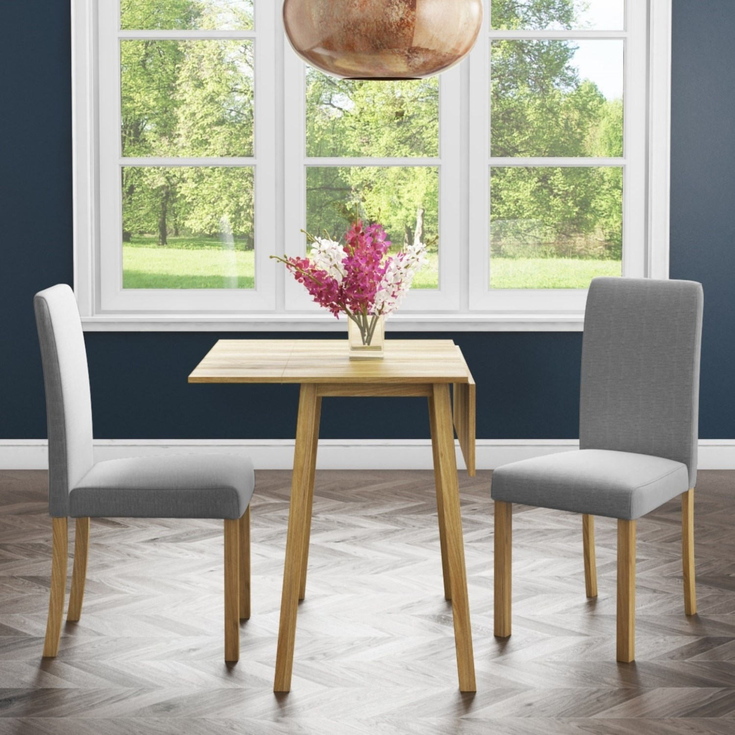 New Haven Oak Dining Set With Small Drop Leaf Table 2 Grey Fabric Chairs Furniture123