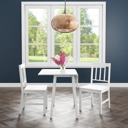 New Haven Drop Leaf Dining Set with 2 Chairs in Stone White
