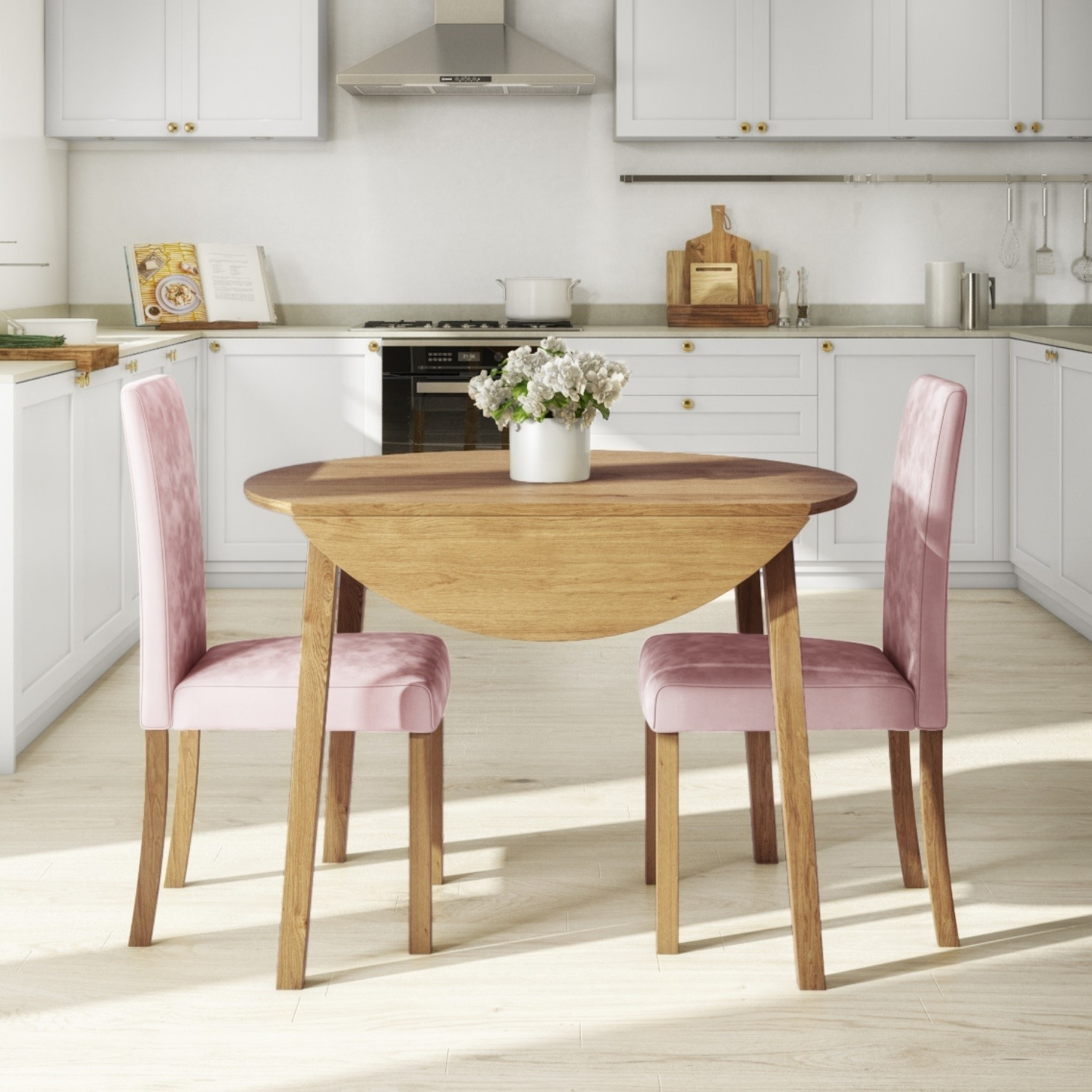 Round Oak Drop Leaf Dining Table & 2 Pink Velvet Chairs