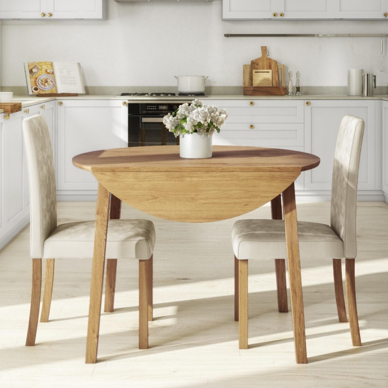 Round Oak Drop Leaf Dining Table & 2 Cream Velvet Chairs - N